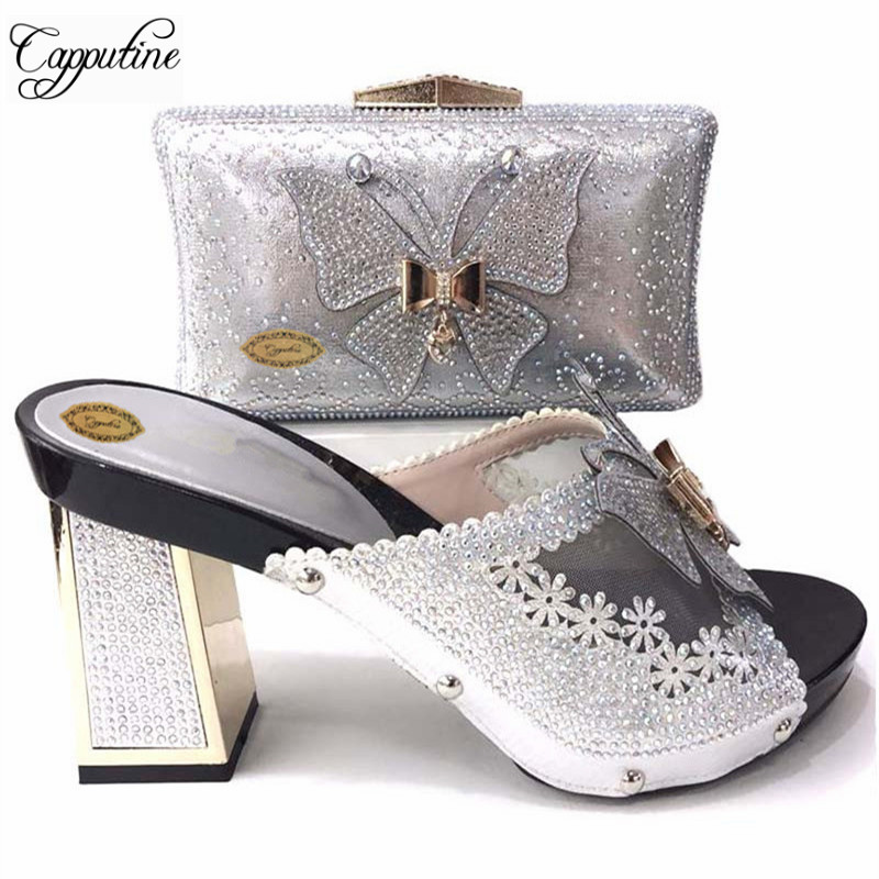 Nice Design Italian Rhinestone Shoes With Matching Bags Latest Rhinestone African Women Shoes and Bags Set