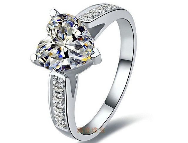 0757f8049 Elegant 2 carat heart shape Synthetic Diamonds ring 925 silver new gold  Cover engagement &wedding vintage