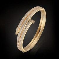 Brand Copper Bangles Bridal Wedding Jewelry Dubai Gold Plated Zircon Bangles Bracelet For Women Pulseira Feminina