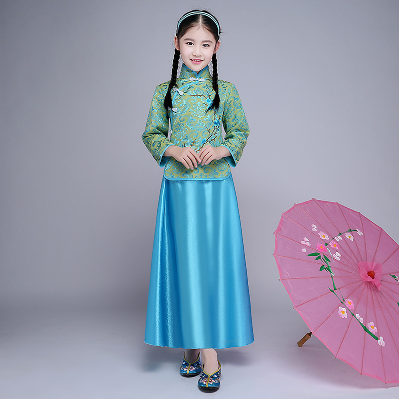 Children Girl Cheongsam Top Vintage Long Qipao Kids Vestido Oriental Gowns Modern Chinese Traditional Dress Qi Pao Green Chipao