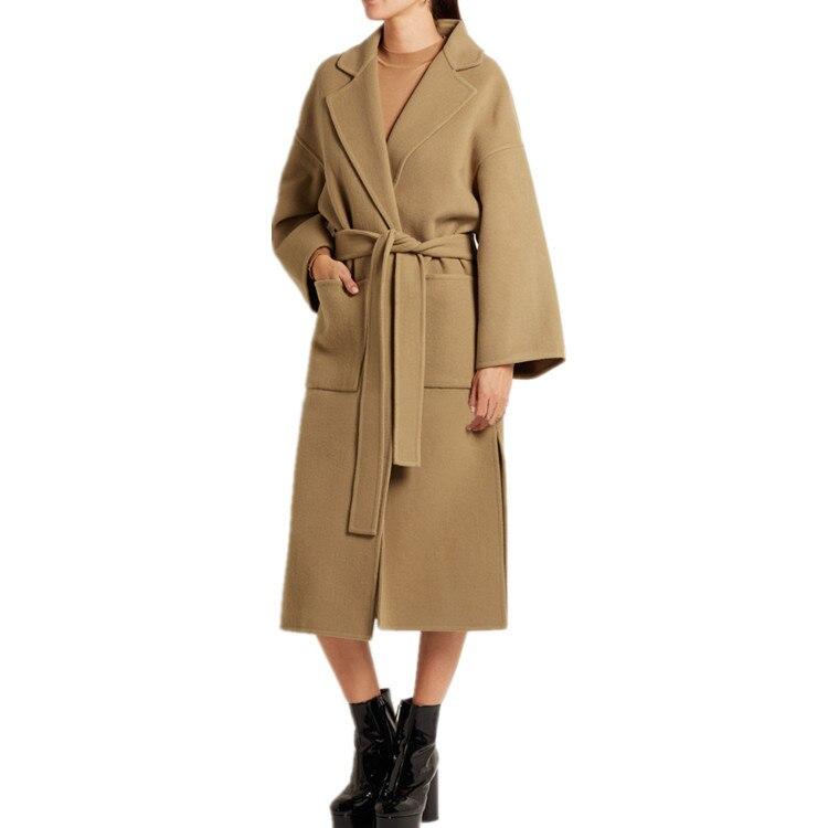 2018 Autumn Winter Long Wool Coat Female Fashion Camel Cashmere Jacket Womens Belt Two Side Open Fork Woolen Blend Overcoat
