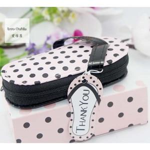 Image 3 - Pink Polka Purse Slippers Shaped Cute Creative Manicure Set Wedding Gift Favors 20sets Nail tools