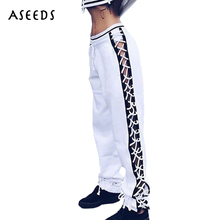 BRUSCREST Black white side button lace up women high waist loose harem pants casual
