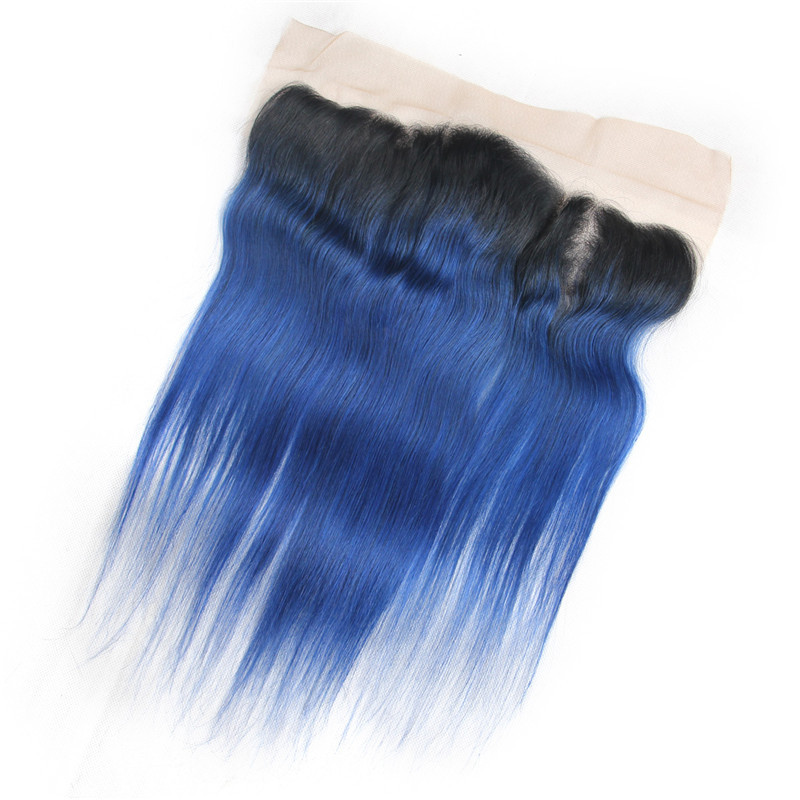 Riay Hair 1b Ocean Blue Ombre Brazilian Body Wave Hair 13x4 Lace Frontal Ombre Closure Black Root Remy Hair Closures