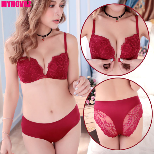 MYNOVAZ Women s Sexy Underwear Gather Front Buckle Sexy Lace Bras Set Beautiful  Back 5 Color Push Up Plus Size 70A-85C Lady Bra 999b8fd6e