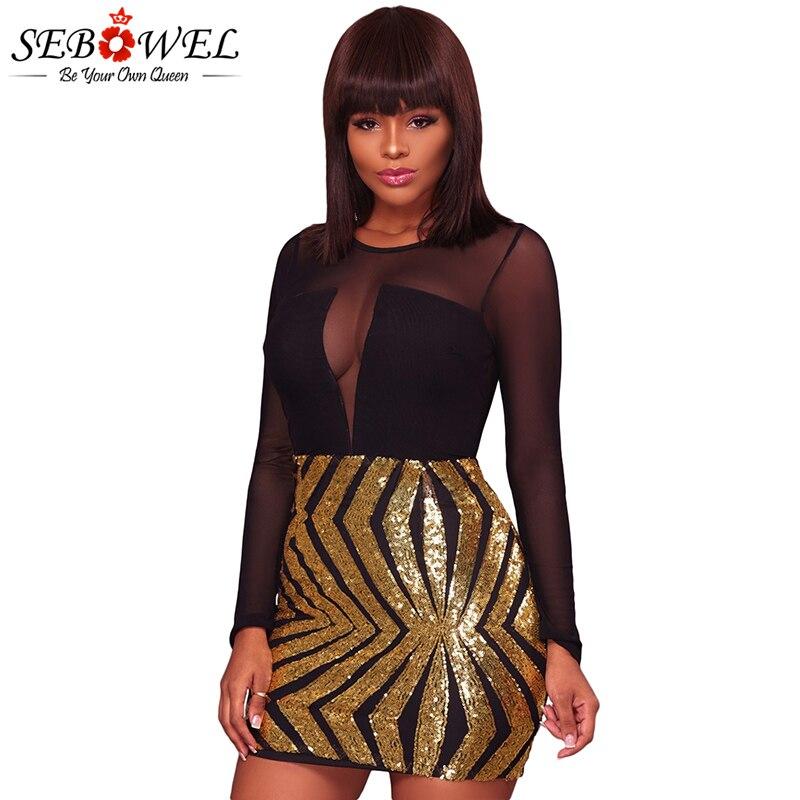 2019 SEBOWEL Sexy Black Sheer Mesh Gold Sequin Club Dress Women Long ... e5f7a2699fb7