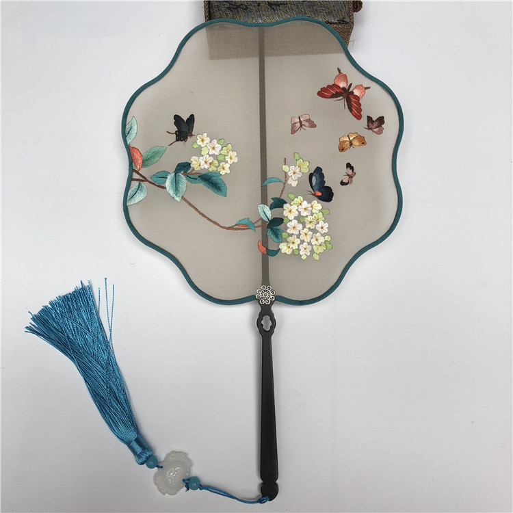 Handmade Double side Embroidery Chinese Hand Fan Decoration Natural Mulberry Silk Fan Dance Bamboo Handle Women Fan Gift