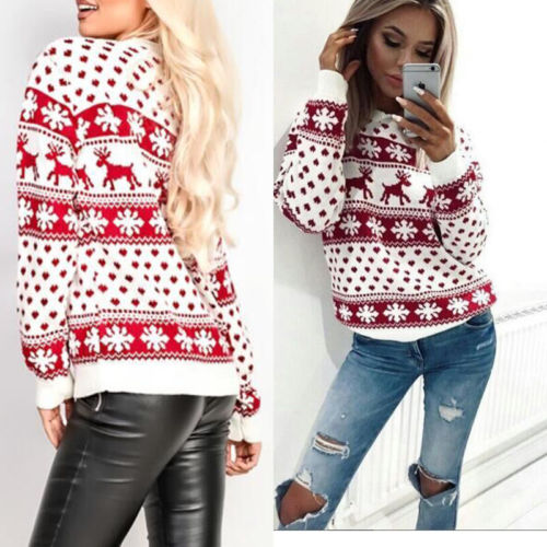 Women Lady Jumper Sweater Pullover Tops Coat Christmas Winter Womens