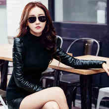 sizzling promote Women's vest down cotton turtleneck sweater sleeves thickening sweater  primary feminine PU sleeve patchwork winter sweater