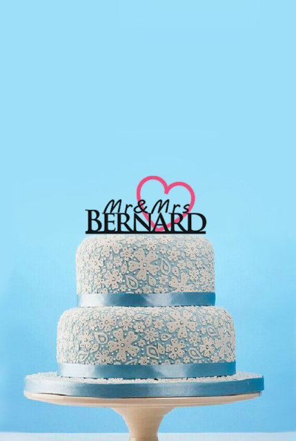 Personalized Heart Design Mr And Mrs Cake Topper With Last Name