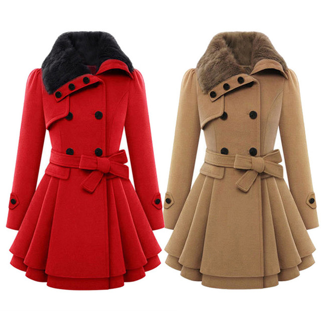 Women  Lapel Double-breasted Thick Wool Coat Jacket Outwear free shipping and wholesales