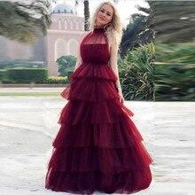 Evening Vestido Burgundy Arabic