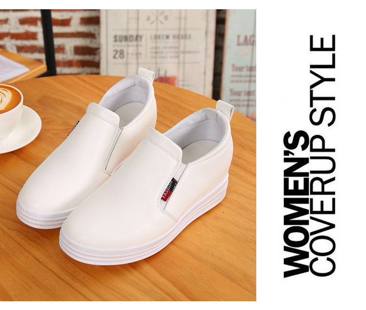Wedge Leather Casual Shoes Woman Platform Shoes 2017 Spring New Simple Height Increasing Women Shoes Round Toe Ladies Shoes ZD48 (16)
