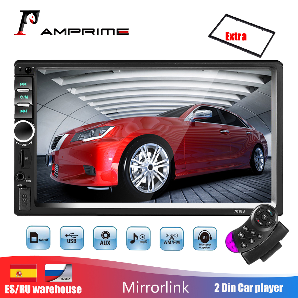 AMPrime Autoradio <font><b>2</b></font> <font><b>din</b></font> General Car Models 7'' LCD Touch Bluetooth 2din Car <font><b>Radio</b></font> Player Car Audio Aux FM With Rear View Camera image