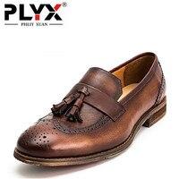 Brand PHLIY XUAN Retro New 2017 Mens Dress Shoes Genuine Leather 100 Handmade Men Oxfords Slip