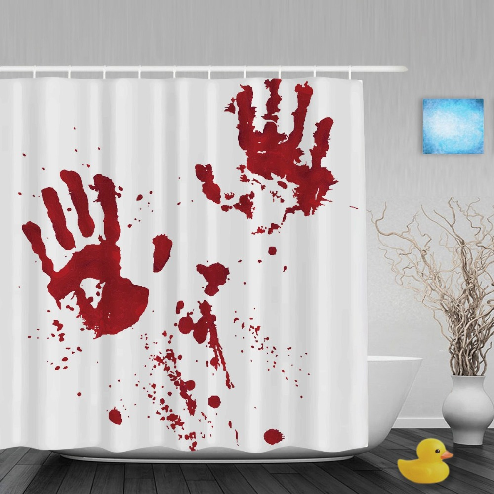 Superior Bloody Hand Palm Prints Shower Curtains Haloween Home Decor Bathroom Shower  Curtain Waterproof Polyester Fabric With Hooks