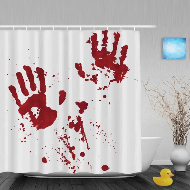 Bloody Hand Palm Prints Shower Curtains Haloween Home Decor Bathroom Curtain Waterproof Polyester Fabric With Hooks
