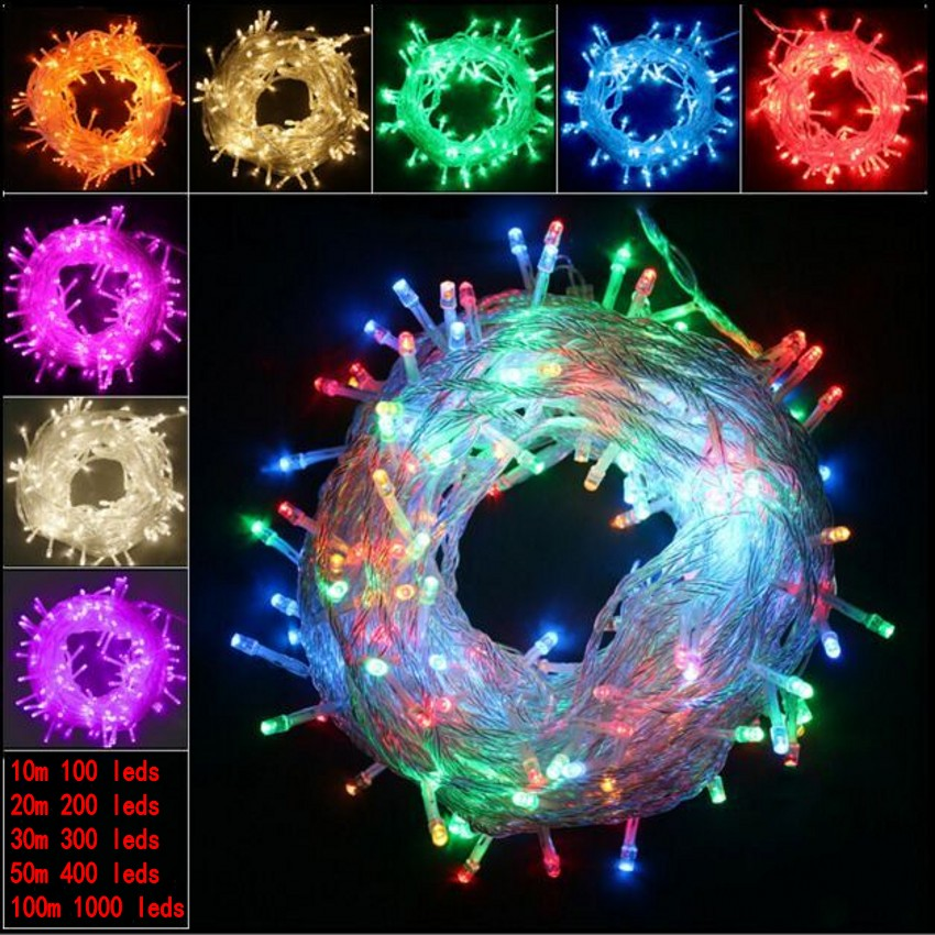 20 Light String Christmas Lights : 10M 20M 100M Waterproof 110V/220V LED holiday String lights for Christmas Festival Party Fairy ...