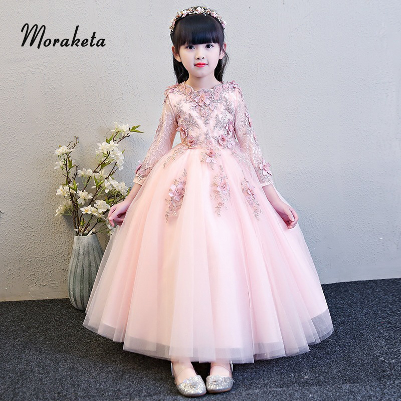 Luxury Appliques Beading Pink Long Sleeves   Flower     Girl     Dresses   For Wedding 2019 Lace Tulle Floor-length Ball Gowns For   Girls