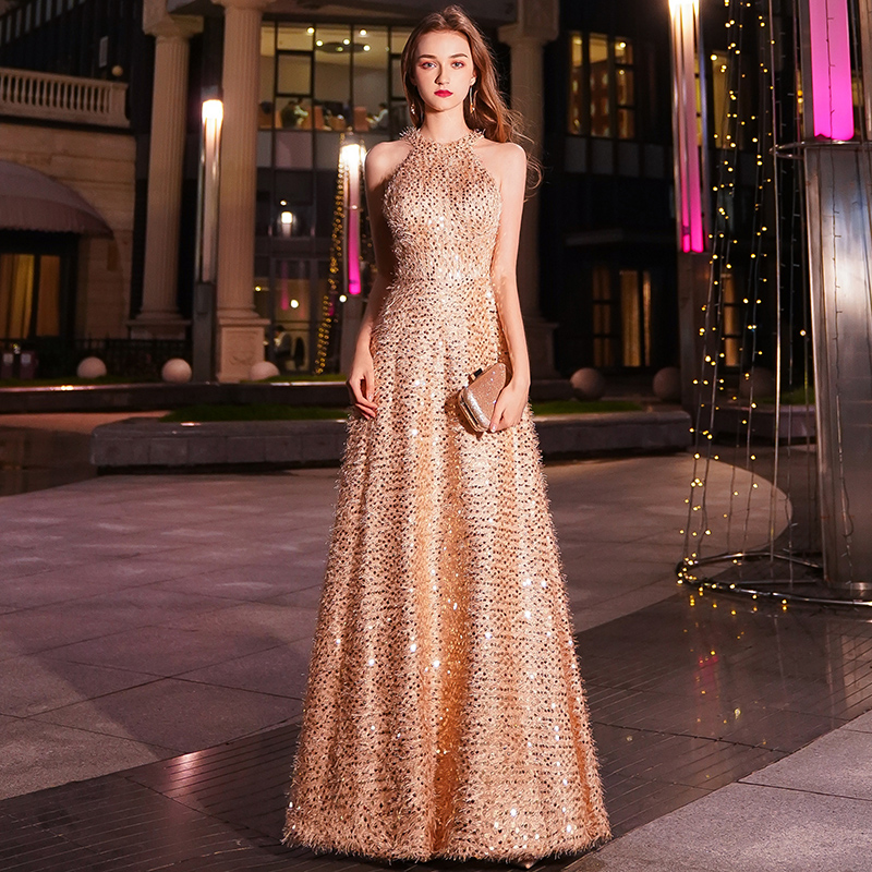 2019 New Elegant Gold Long   Evening     Dress   Sexy Lace Floor-length Prom Party Gown Formal   Dresses   Vestido De Festa LYFY49