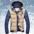 Inverno Dos Homens Jaquetas Com Capuz De Algodão-acolchoado Dos Homens Casaco Espessamento Masculino casaco de Inverno Casaco Acolchoado Outwear Plus Size M-3XL
