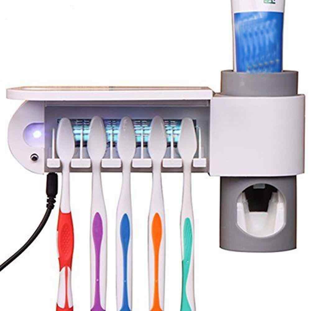 2 w 1 UV podwójna lampa sterylizator szczoteczki do zębów uchwyt na szczoteczki do zębów automatyczna pasta do zębów dozownik dozownik gospodarstwa domowego łazienka zestaw