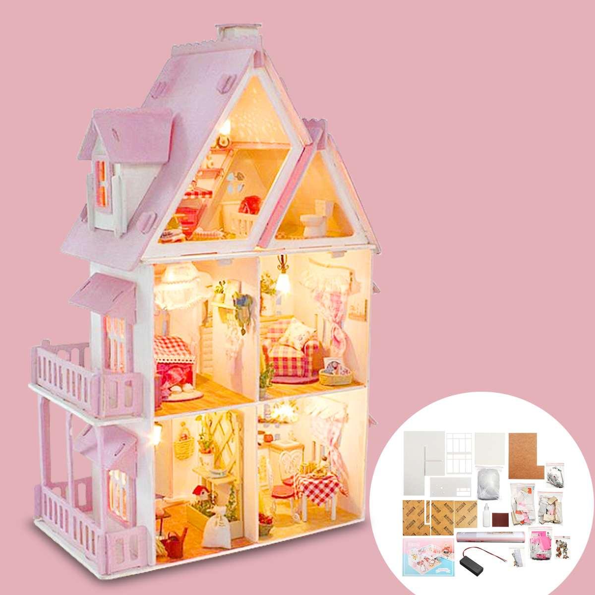 DIY drewniany miniaturowy domek dla lalek Box Handmade LED Light miniaturowe mebelki do domku dla lalek akcesoria do domu dla dzieci prezent