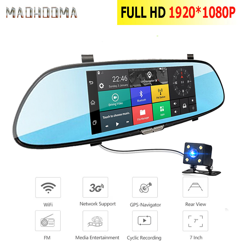 MaoHooMa Android 3g Car DVR Dash Camera 7.0 inch Dual Lens GPS Full HD 1080P DVRs Bluetooth WIFI Dash Cam Video Recorder Dashcam image