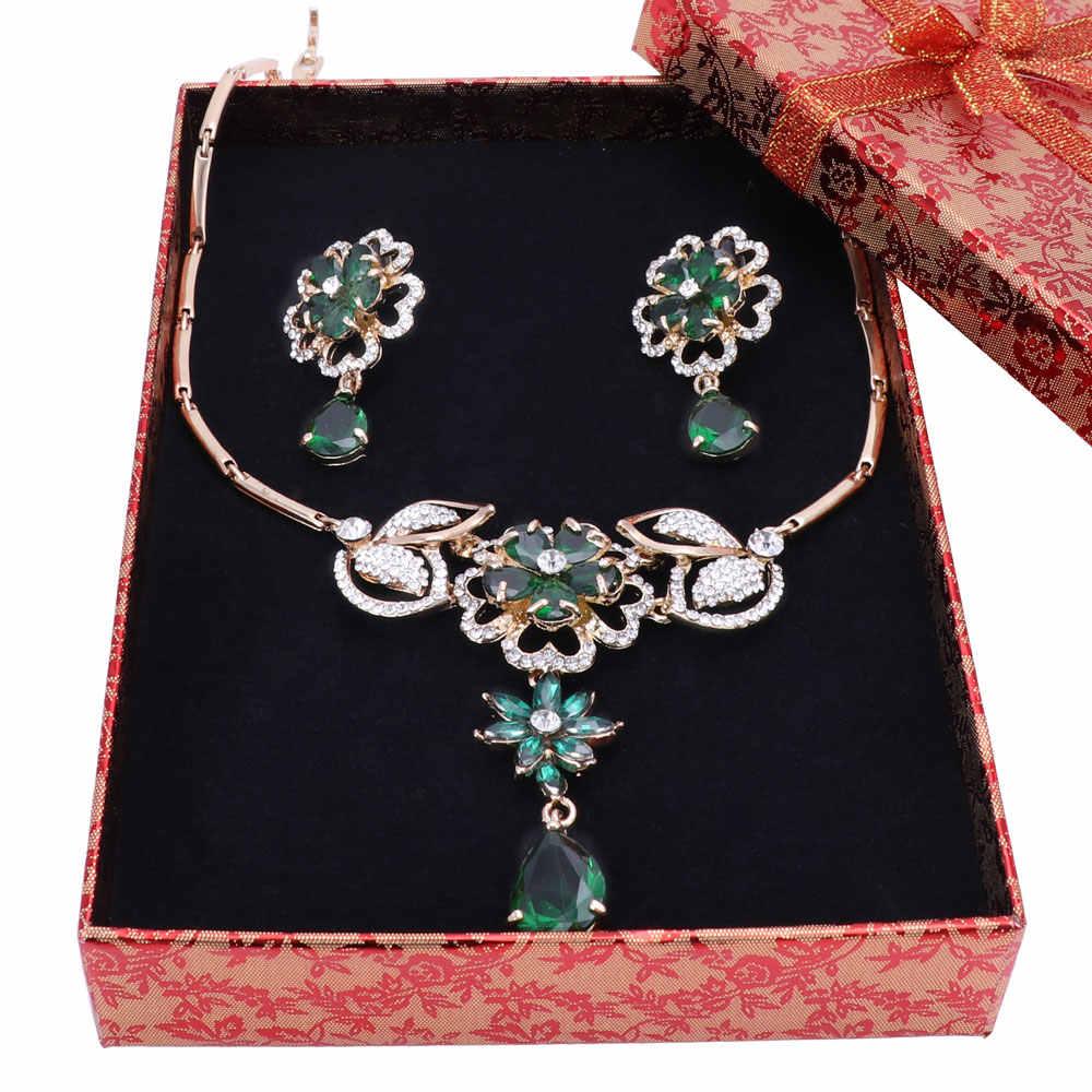 Fashion Schmuck Sets Nigerian Frauen Braut Gold Farbe Kristall Hochzeit Afrikanische Perlen Blume Anhänger Halskette Ohrringe Sets