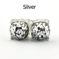 14 Colors Silver Plated Kate Glitter Studs Earrings Square Spade Ear Button 4