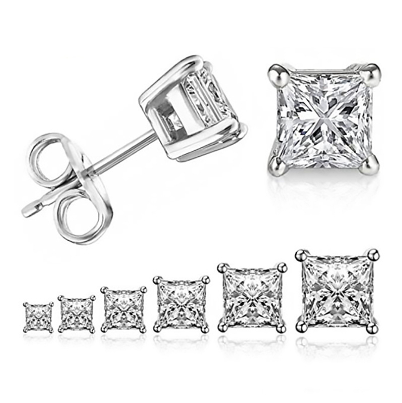 Sparkling Simple Fashion Jewelry 925 Sterling Silver&Gold Fill Princess Cut 5A Cubic Zirconia Four Claw Stud Earring For Women