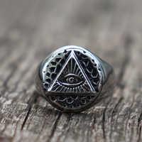 Vintage Illuminati Eye of Providence Biker Rings Mens Masonic Stainless Steel Ring Punk Jewelry