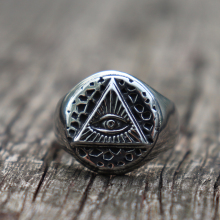 Vintage Illuminati Eye of Providence Biker Rings Mens Masonic Stainless Steel Ring Punk Jewelry
