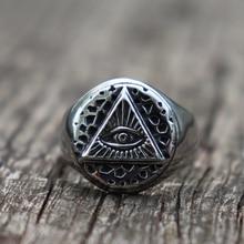 Vintage Illuminati Eye of Providence Biker Rings Mens Masonic Stainless Steel Ring Punk Jewelry illuminati подвесная люстра illuminati md112801 10a