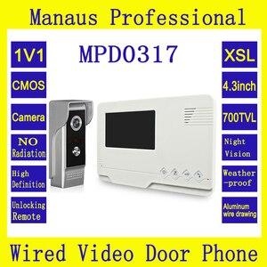 4,3 дюймов TFT LCD Видео дверной звонок с камерой Открытый водонепроницаемый инфракрасный ночного видения Интерком для частного дома D0317