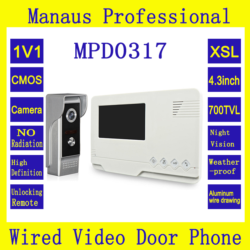 4.3 inch TFT LCD Video Door Phone Doorbell with Camera Outdoor Waterproof Infrared Night Vision Intercom for Private House D0317 7 inch video doorbell tft lcd hd screen wired video doorphone for villa one monitor with one metal outdoor unit night vision