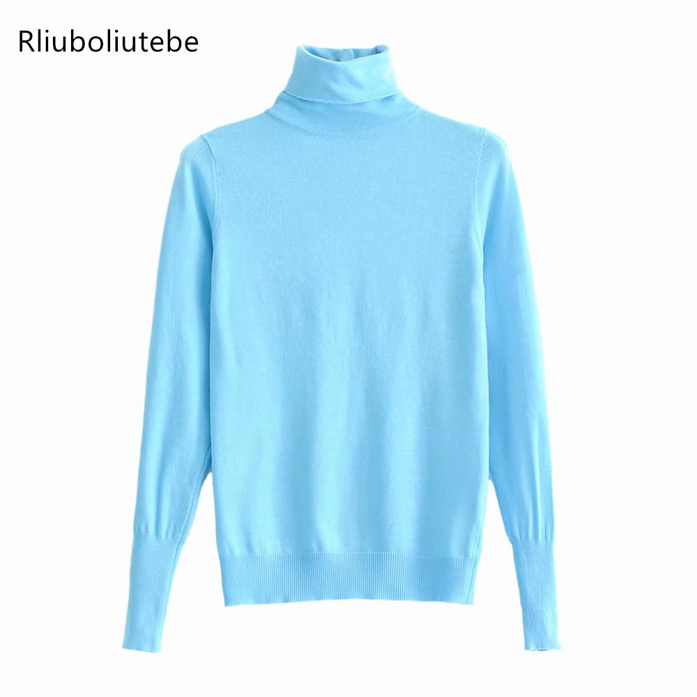 Turtleneck Light Blue Knit Sweater Women Knitted Pullover Long Sleeve Casual Winter Spring Jumper Black High Neck Sweater