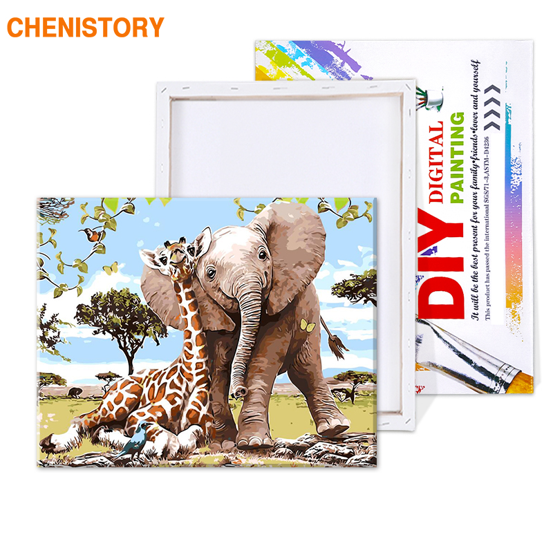 HTB1IEzqT4TpK1RjSZFKq6y2wXXaq CHENISTORY Frameless Elephant Giraff DIY Painting By Numbers Modern Wall Art Picture Paint By Numbers Unque Gift For Home Decor