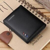 WILLIAMPOLO 100% Genuine Leather Men Wallets Men Wallet Male Purse Short Wallet Money Clip Purses Leather Purse Wallets