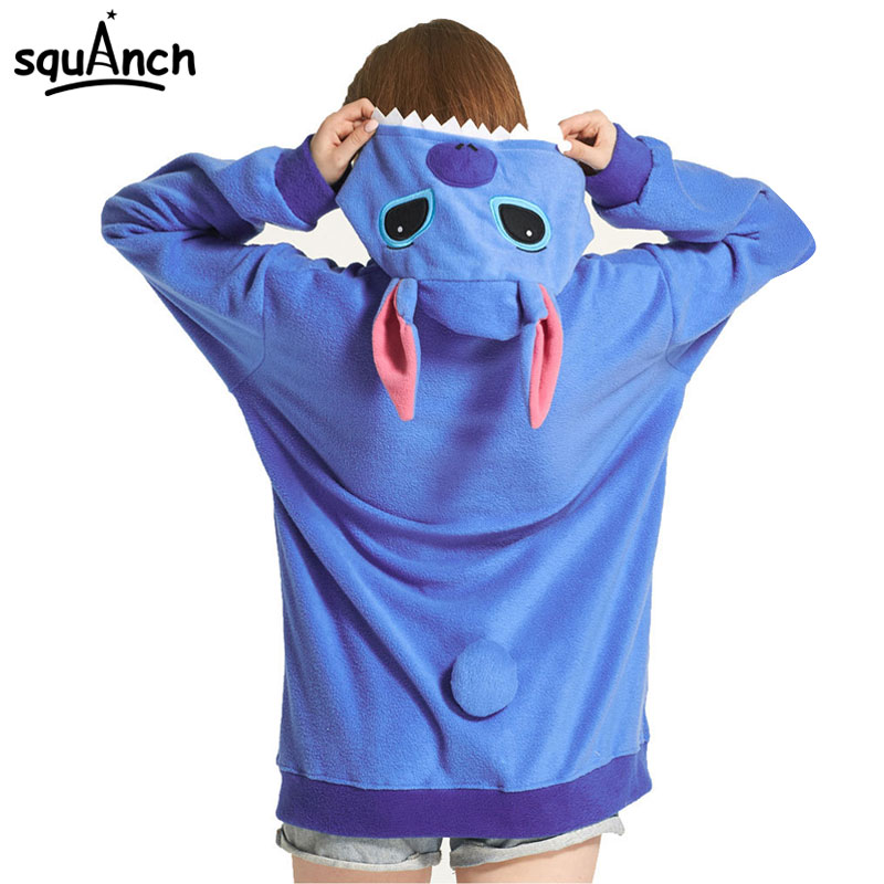 Women's Hoodies Blue Stitch Sweatshirt Anime Cartoon Lilo Stitch Jacket Street Wear Winter Hooded Zipper Polar Fleece Light Warm