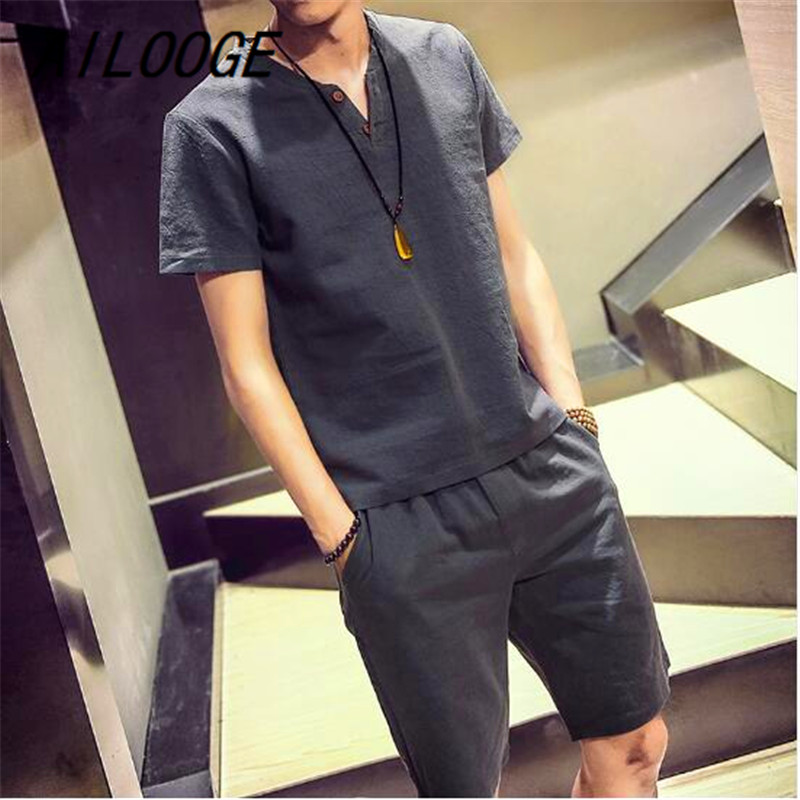 AILOOGE T-shirt Casual Breathable Short-sleeved T-shirt + Shorts Chinese Summer 2018 New Men's Fashion Men's Sets