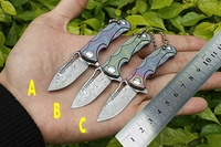 mini Damascus knife folding knives Titanium handle key chain ring camping survival pocket knifes fishing utility multi EDC tools