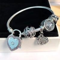 Nueva colección buena calidad corazón corchete 925 Real de plata libélula encantos pulsera para señora