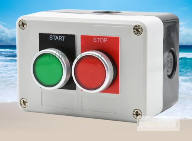 High quality LED switch with two bit self switch box, switch switch, stop start button, red and green silver contact цена