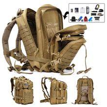 50 л вместительный мужской армейский военный тактический большой рюкзак Водонепроницаемый Открытый спортивный походный Кемпинг Охота 3D рюкзак сумки для мужчин