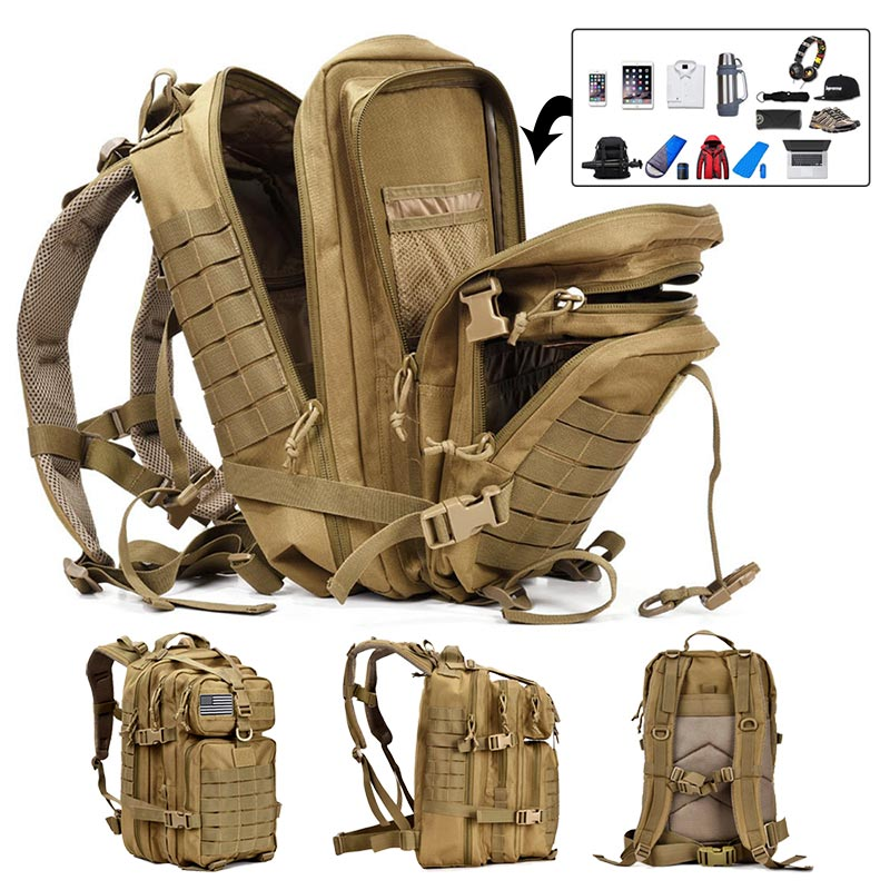 50L ความจุผู้ชายกองทัพทหารยุทธวิธีกระเป๋าเป้สะพายหลังขนาดใหญ่กันน้ำกลางแจ้งกีฬาเดินป่าตั...