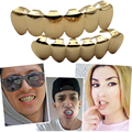 HIPHOP Dental Grillz Teeth Caps Grills Rhinestone oro plata Steampunk hombres Bijoux Femme Body Jewelry