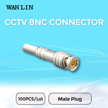 WANLIN 100Pcs a Lot CCTV Solder Less Twist Spring BNC Connector Jack for Coaxial RG59 Cable for Surveillance Accessories