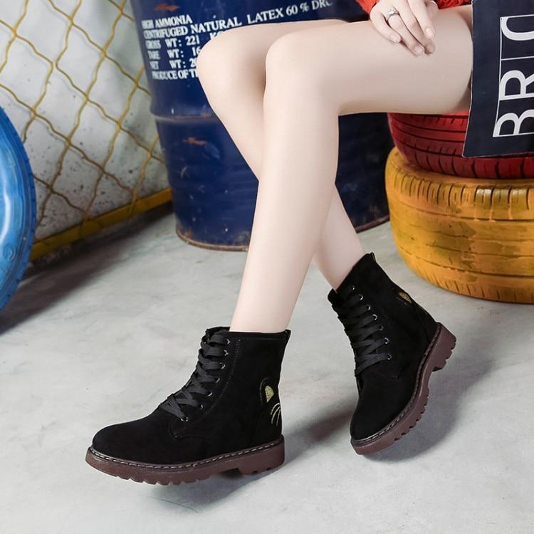 Mujeres naranja 2018 Impermeable khaki Femeninos De Botas Gato Historieta Negro Estudiantes Tobillo Moda Fondo La Zapatos Plano Zwpw5