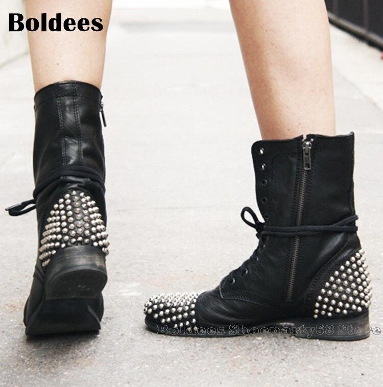 Mode argent Rivets noir cuir à lacets dames bottines hiver bout rond court moto bottes européennes